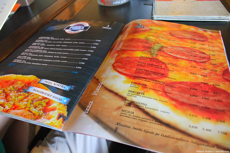 Меню в кафе Подгорицы