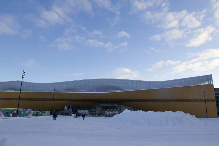 Библиотека Oodi в Хельсинки. Вид снаружи